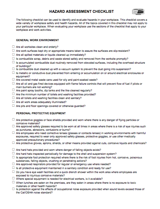 HAZARD ASSESSMENT CHECKLIST