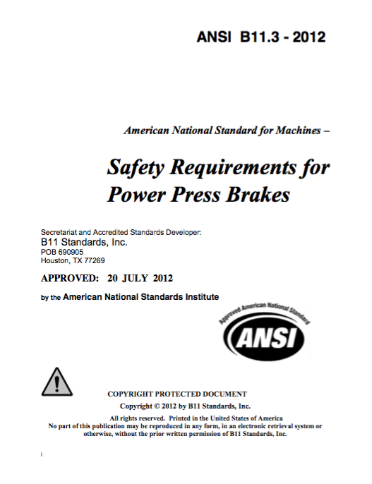 Safety Requirements for Power Press Brakes